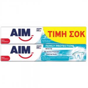 AIM T/PASTE FAMILY PROTECTION 2x75ml White