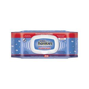 WET HANKIES ANTIBACTERIAL WIPES 72τεμ. Antibacterial