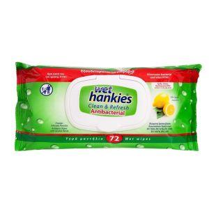 WET HANKIES ANTIBACTERIAL WIPES 72τεμ. Lemon